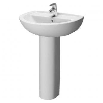 VitrA Layton Bathroom Cloakroom Suite Corner Close Coupled Toilet 2 Tap Hole Basin