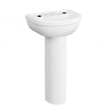 VitrA Milton Basin and Full Pedestal 650mm Wide - 2 Tap Hole
