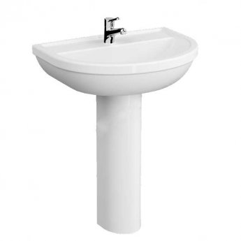 VitrA Milton Basin and Full Pedestal 650mm Wide - 1 Tap Hole