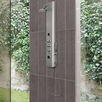 Vitra Move Thermostatic Shower Tower Panel with Hydromassage 1400mm H x 250 W - Anthracite