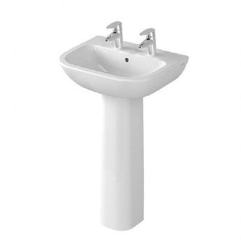 Vitra S20 Wash Basin and Full Pedestal 650mm Wide 2 Tap Hole