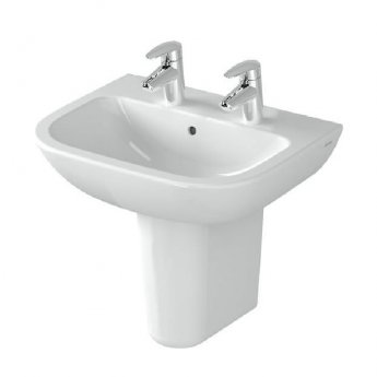 Vitra S20 Wash Basin and Large Semi Pedestal 550mm Wide 2 Tap Hole