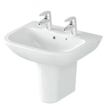 Vitra S20 Cloakroom Basin and Small Semi Pedestal 450mm Wide 2 Tap Hole