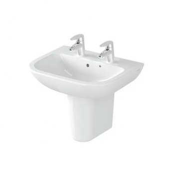 Vitra S20 Cloakroom Basin and Large Semi Pedestal 500mm Wide 2 Tap Hole