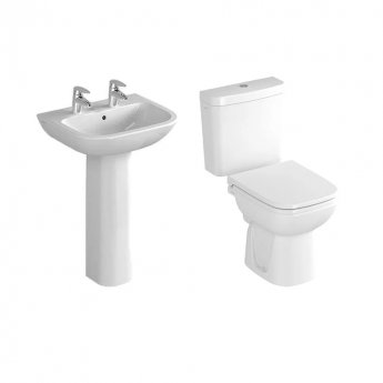 VitrA S20 Cloakroom Suite Toilet and 450mm 2 Tap Hole Basin