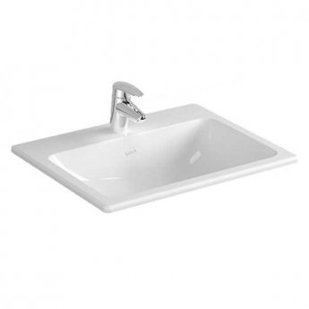 Vitra S20 Compact Inset Countertop Basin with Front Overflow 550mm Wide - 1 Tap Hole