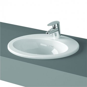 Vitra S20 Compact Countertop Basin with Front Overflow 480mm Wide - 1 Tap Hole