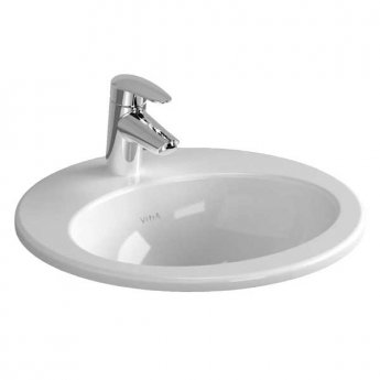 Vitra S20 Compact Inset Countertop Basin with Front Overflow 530mm Wide - 1 Tap Hole