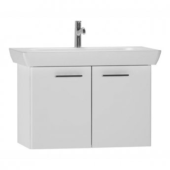 Vitra S20 Vanity Unit with Basin 650mm Wide Gloss White 1 Tap Hole
