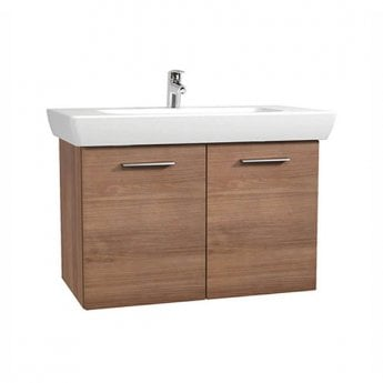 Vitra S20 Vanity Unit with Basin 850mm Wide Golden Cherry 1 Tap Hole