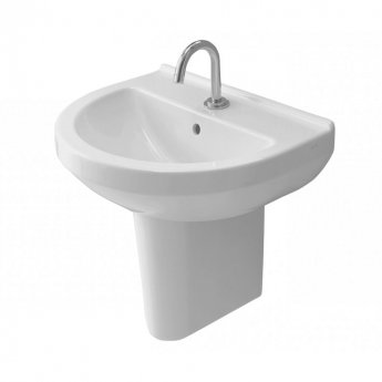 Vitra S50 Round Basin and Large Semi Pedestal 550mm Wide 1 Tap Hole