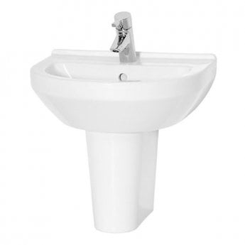 Vitra S50 Round Basin and Small Semi Pedestal 500mm Wide 1 Tap Hole