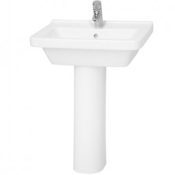 Vitra S50 Square Basin and Full Pedestal 600mm Wide 1 Tap Hole