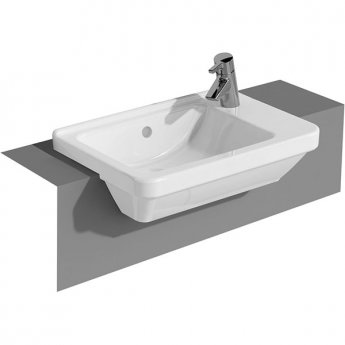 Vitra S50 Compact Semi Recessed Basin Right Handed 550mm Wide 1 Tap Hole