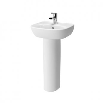 Vitra Zentrum Wash Basin and Full Pedestal 450mm Wide 1 Tap Hole