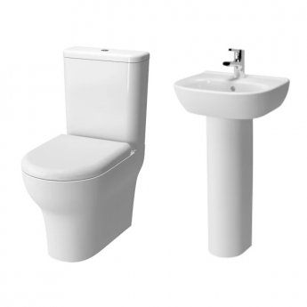 VitrA Zentrum Bathroom Cloakroom Suite Close Coupled Toilet 1 Tap Hole Basin - Soft Close Seat