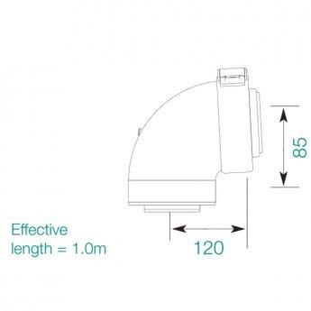 Warmflow HE 87 Degree Flue Bend for Oil Boiler
