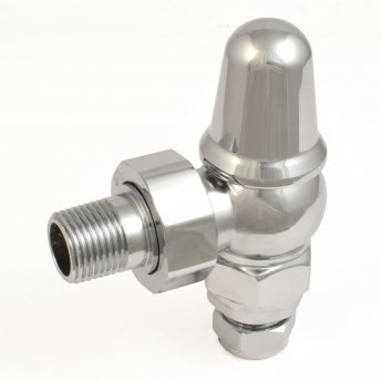 West Admiral Angled Thermostatic Radiator Valves Pair and Lockshield - Chrome