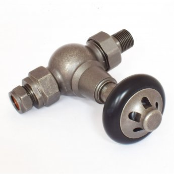 West Admiral Straight Thermostatic Radiator Valves Pair and Lockshield - Pewter