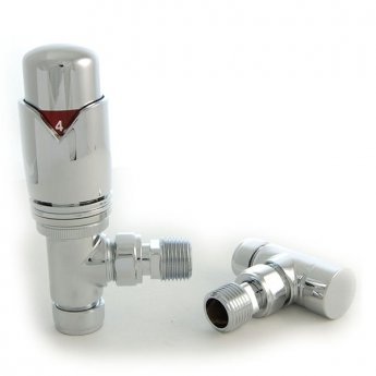 West Realm TRV Thermostatic Radiator Valves Pair, Wheel-head and Lockshield, Angled, Chrome