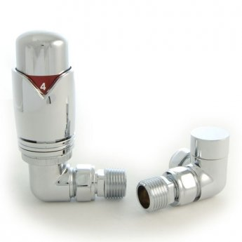 West Realm TRV Thermostatic Radiator Valves Pair, Wheel-head and Lockshield, Corner, Chrome