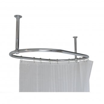 West Luxury Oval Shower Curtain Rail End Stays - 1135mm Length