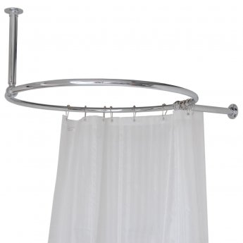 West Luxury Round Shower Curtain Rail Ceiling and Side Stays - 850mm Wide
