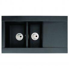 Abode Aspekt 1.5 Bowl Granite Inset Kitchen Sink 950mm L x 540mm W - Black Metallic