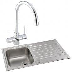 Abode Connekt 1.0 Bowl Inset Kitchen Sink with Nexa Sink Tap 860mm L x 500mm W - Stainless Steel