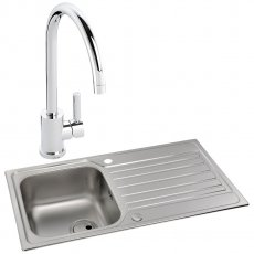 Abode Connekt 1.0 Bowl Inset Kitchen Sink with Atlas Sink Tap 860mm L x 500mm W - Stainless Steel