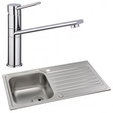 Abode Connekt 1.0 Bowl Inset Kitchen Sink with Specto Sink Tap 860mm L x 500mm W - Stainless Steel