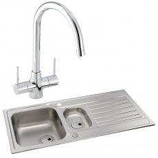 Abode Connekt 1.5 Bowl Inset Kitchen Sink with Nexa Sink Tap 1000mm L x 500mm W - Stainless Steel
