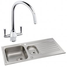 Abode Connekt 1.5 Bowl Inset Kitchen Sink with Astral Sink Tap 1000mm L x 500mm W - Stainless Steel