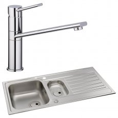 Abode Connekt 1.5 Bowl Inset Kitchen Sink with Specto Sink Tap 1000mm L x 500mm W - Stainless Steel