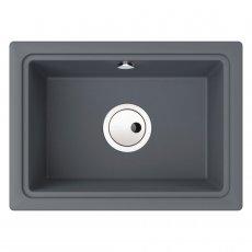 Abode Denton Compact 1.0 Bowl Granite Undermount Kitchen Sink 500mm L x 363mm W - Grey Metallic