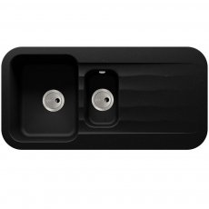Abode Dune 1.5 Bowl Granite Kitchen Sink With Reversible Drainer 1000mm L x 500mm W - Black