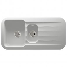 Abode Dune 1.5 Bowl Granite Kitchen Sink with Reversible Drainer 1000mm L x 500mm W - Frost White