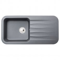 Abode Dune 1.0 Bowl Granite Kitchen Sink With Reversible Drainer 1000mm L x 500mm W - Grey Metallic