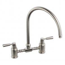 Abode Hargrave Swan Neck Bridge Dual Lever Kitchen Sink Mixer Tap - Brushed Nickel