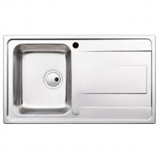 Abode Ixis Compact 1.0 Bowl Inset Kitchen Sink 860mm L x 500mm W - Stainless Steel