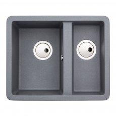 Abode Matrix SQ GR15 1.5 Bowl Granite Inset Kitchen Sink 560mm L x 460mm W - Grey Metallic
