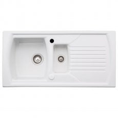 Abode Milford 1.5 Bowl Ceramic Kitchen Sink with Reversible Drainer 1000mm L x 500mm W - White