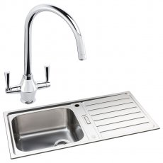 Abode Neron 1.0 Bowl Inset Kitchen Sink with Astral Sink Tap 1000mm L x 500mm W - Stainless Steel