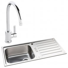 Abode Neron 1.0 Bowl Inset Kitchen Sink with Atlas Sink Tap 1000mm L x 500mm W - Stainless Steel