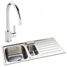 Abode Neron 1.5 Bowl Inset Kitchen Sink with Atlas Sink Tap 1000mm L x 500mm W - Stainless Steel