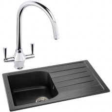 Abode Oriel 1.0 Bowl Granite Inset Kitchen Sink with Astral Sink Tap 780mm L x 480mm W - Black