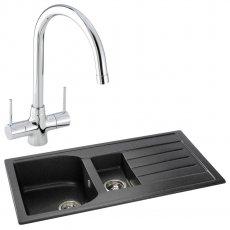 Abode Oriel 1.5 Bowl Granite Inset Kitchen Sink with Nexa Sink Tap 950mm L x 480mm W - Black
