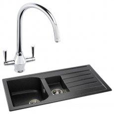 Abode Oriel 1.5 Bowl Granite Inset Kitchen Sink with Astral Sink Tap 950mm L x 480mm W - Black