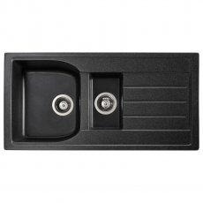 Abode Oriel 1.5 Bowl Granite Inset Kitchen Sink 950mm L x 480mm W - Black