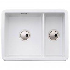 Abode Sandon 1.5 Bowl Ceramic Kitchen Sink 595mm L x 460mm W - White